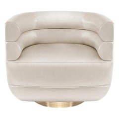 Loren Armchair in Ivory Leather by Essential Home