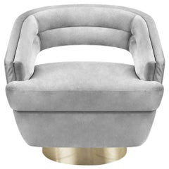 Russel Armchair in Light Gray Velvet by Essential Home
