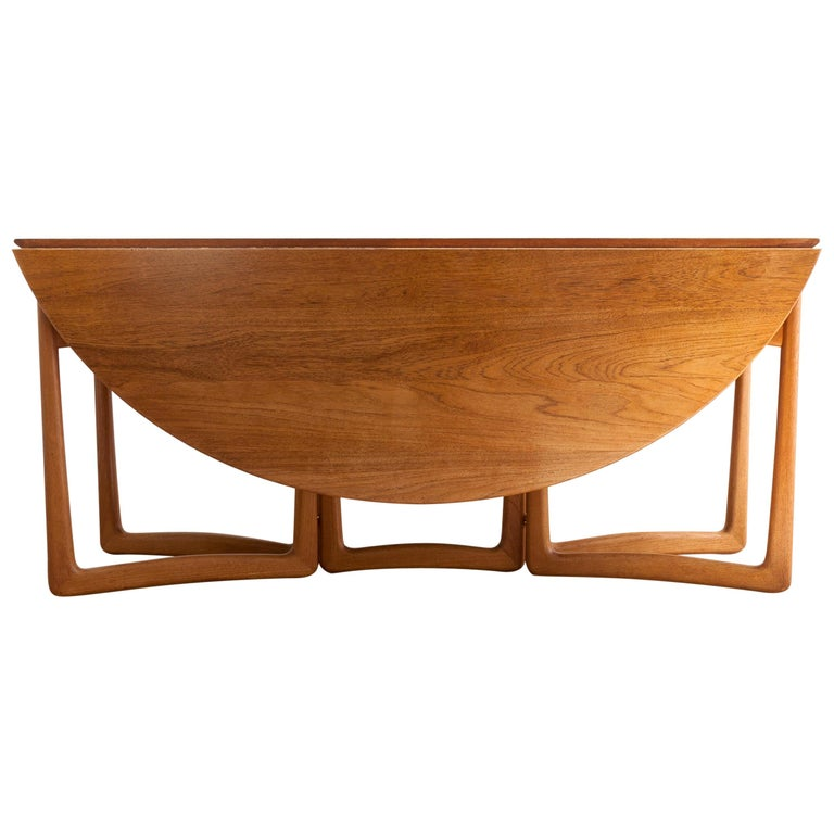 Peter Hvidt And Orla Mølgaard Nielsen Drop Leaf Table, France & Søn, Denmark