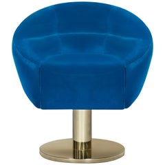 Mansfield Dining Chair in Blue Velvet with Brass Base by Essential Home