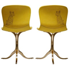 Pair of Sand Cast Bronze Chairs, Aurèle Yellow, Tattooed Leather, in Stock