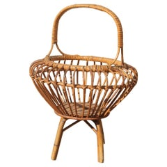 Midcentury Magazine Rack Round Form Bamboo Bonacina Design Brown Color Italian