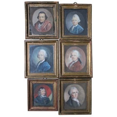18th Century Set of Six Miniature Gouache Portraits of German Thinkers