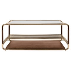 Lautner Centre Table in Brass, Smoked Glass and Wood by Essential Home