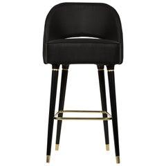Collins Bar Stuhl in Schwarz mit Messing Detail von Essential Home