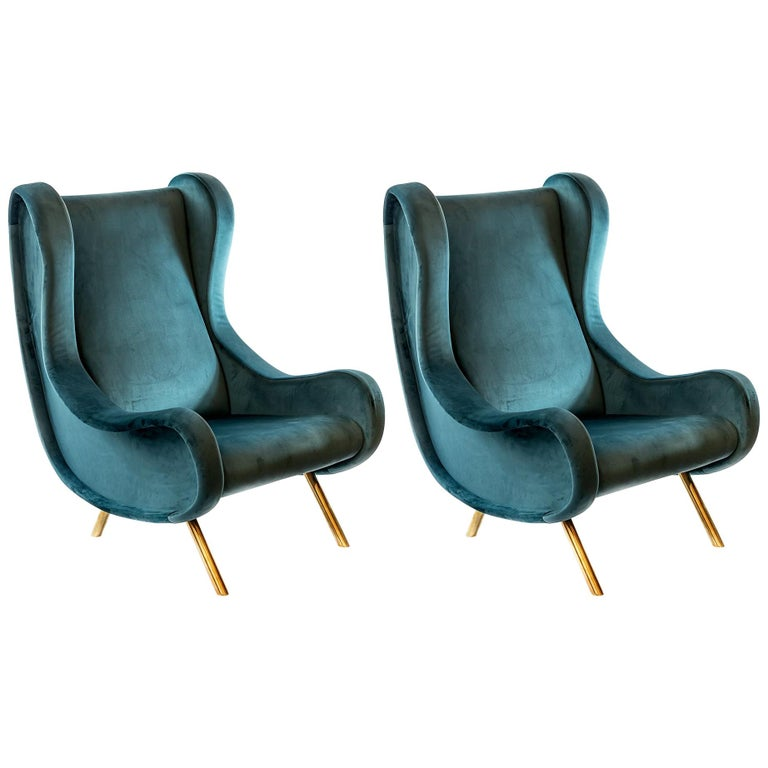 Pair of Italian Armchairs in Marco Zanuso Style