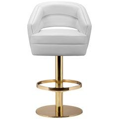 Russel Bar Stuhl in Weiß mit Messing Basis von Essential Home