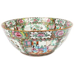Antique Large Chinese Export Canton-Famille Rose Bowl, 19th Century
