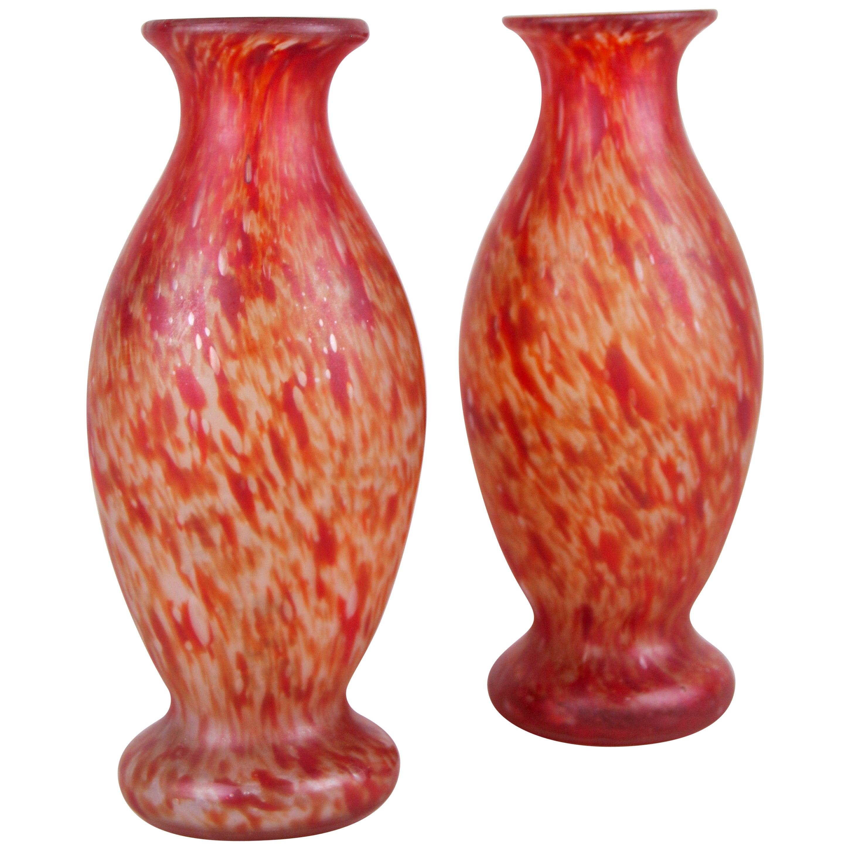 Pair of Art Nouveau Glass Vases, France, circa 1900