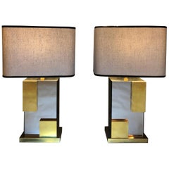 Pair of 1970s Italian Modernist Bronzed Mirror and Brass Table Lamps with Shades