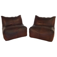Mario Bellini Bambole Vintage Easy Chairs in Dark Brown Leather