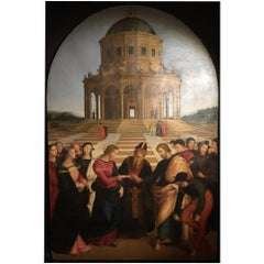 Oil on Roundhead Canvas of the Marriage of the Virgin after Raphael