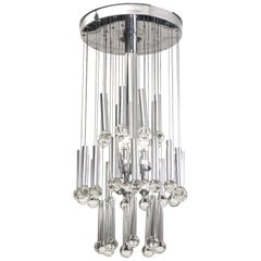 Metal and Glass Ceiling Lamp, circa 1960