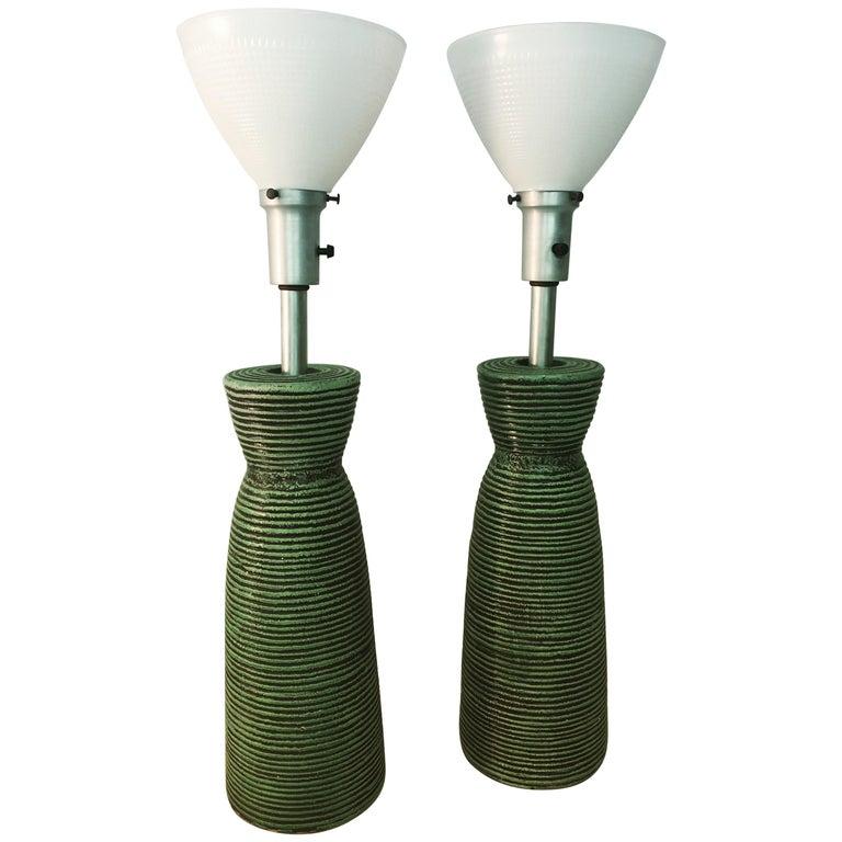Pair of American Modern Ceramic Kelby Table Lamps