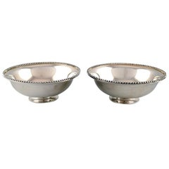 Suzuyo, a Pair of Japanese Silver Bowls with Beaded Border, Sterling Silver