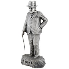 Extremely Heavy Cast Silver Statuette of Prime Minister Winston Churchil