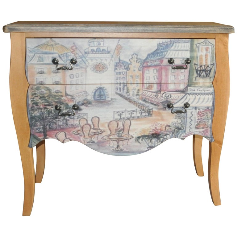 Chest of Drawers with Paris Photo For Sale