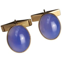 Cufflinks with Cabochon Chalcedony Stones, 1995