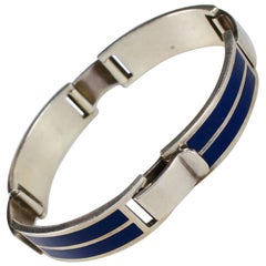 Gucci Sterling Silver and Blue Enamel Bracelet, 1975