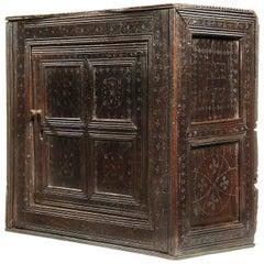 Charles II Oak Wall Cupboard, English, Yorkshire, Dated 1673