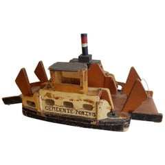 1930s Homemade Dutch Wooden Toy Ferry After a Model That Sailed at Amsterdam