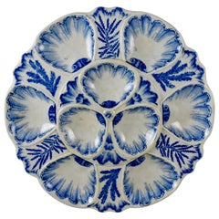 19th Century Vieillard & Cie, French Blue & White Chinoiserie Large Oyster Plate