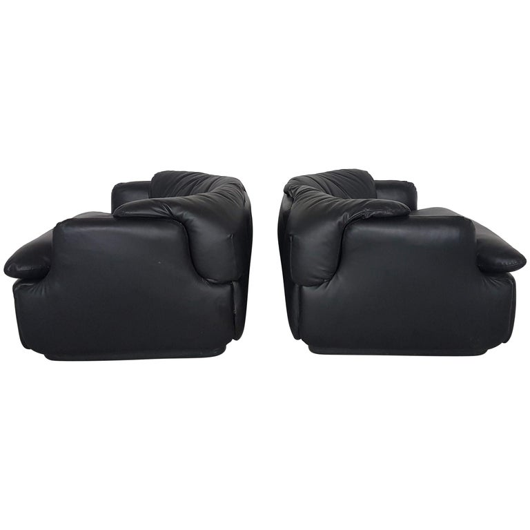 Saporiti Black Leather 'Confidential' Club Chairs by Alberto Rosselli