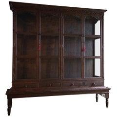 Antique French Haberdashery Shop Display Cabinet Vitrine Oak, circa 1920