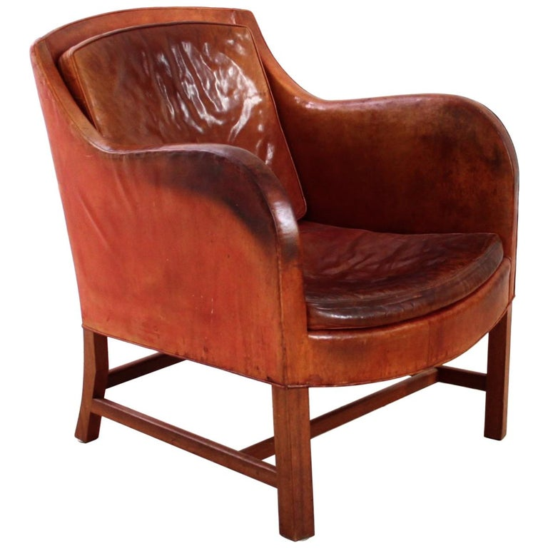 Kaare Klint and Edvard Kindt-Larsen Mix chair in original leather