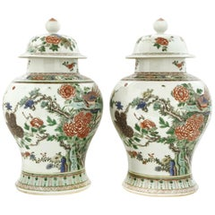 Pair of Chinese Famille Rose Baluster Vases with Pheasants and Peonies
