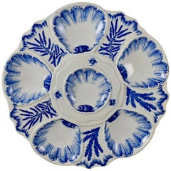 19th Century Jules Vieillard & Cie. French Blue & White Chinoiserie Oyster Plate