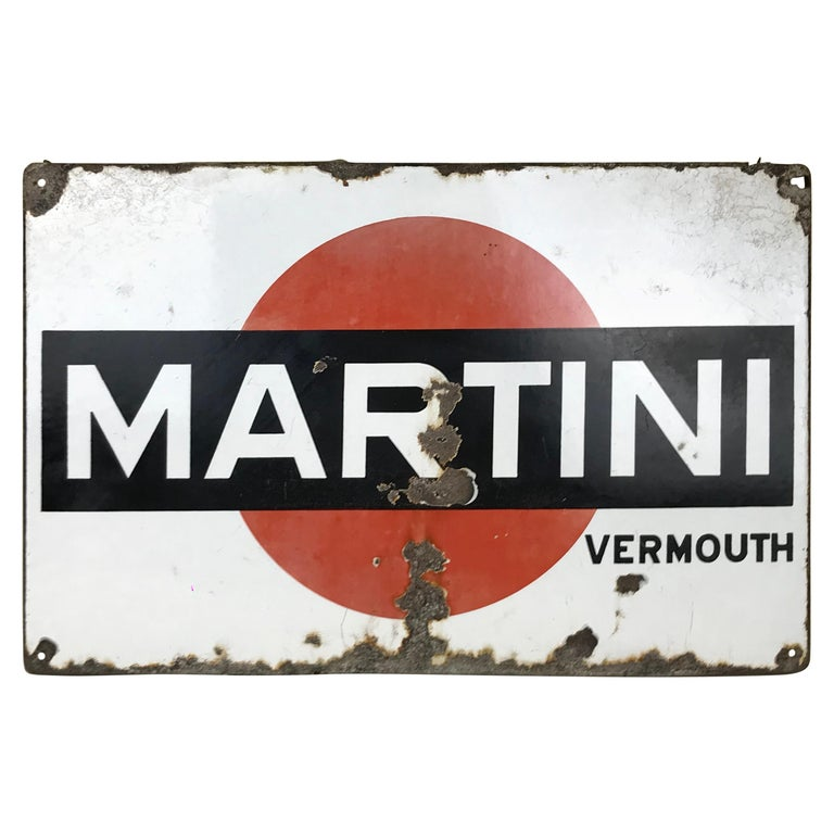 Vintage Italian Enamel Metal Martini Vermouth Advertising Sign, 1950s