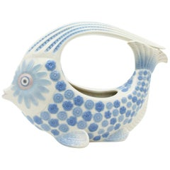 Spanish 1970s Lladró Porcelain Blue and White Fish Figure Centerpiece or Planter