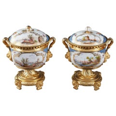 19th Century Volkstedt-Rudolstadt Porcelain and Gilt Bronze Potpourri Vases
