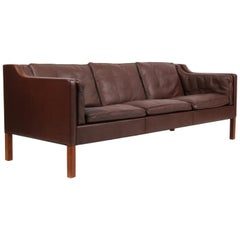 Børge Mogensen Three-Seater Sofa, Model 2213, Original Brown Leather