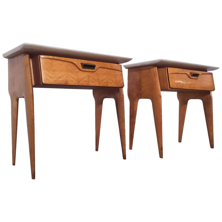 Italian Mid-Century Maple Bedside Tables or Nightstand by Cantù, 1950s, Set of 2