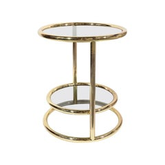Hollywood Regency Brass and Smoked Glass Side Table with Swivel Tier