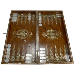 Exquisite English Mother of Pearl Inlaid Amboyna Backgammon Board, circa 1890