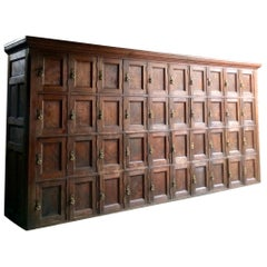 Antique Lockers Pitch Pine 40-Door Industrial Loft Style, French, 19th Century