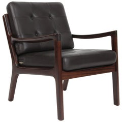 Ole Wanscher Lounge Chair, Model Senator, Mahogany, and Leather