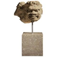 Medieval Limestone Head of a Jester, English, circa 1450-1460