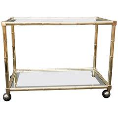 Faux Bamboo Brass Bar Cart