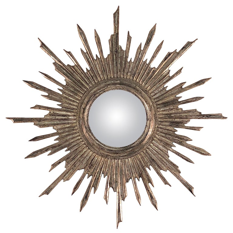 1950s Convex Gilt Leaf Sunburst Mirror