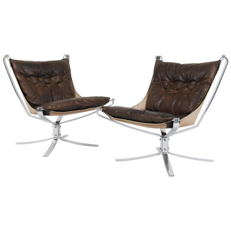 Sigurd Ressell Lounge Chair, Model Falcon, Leather and Steel