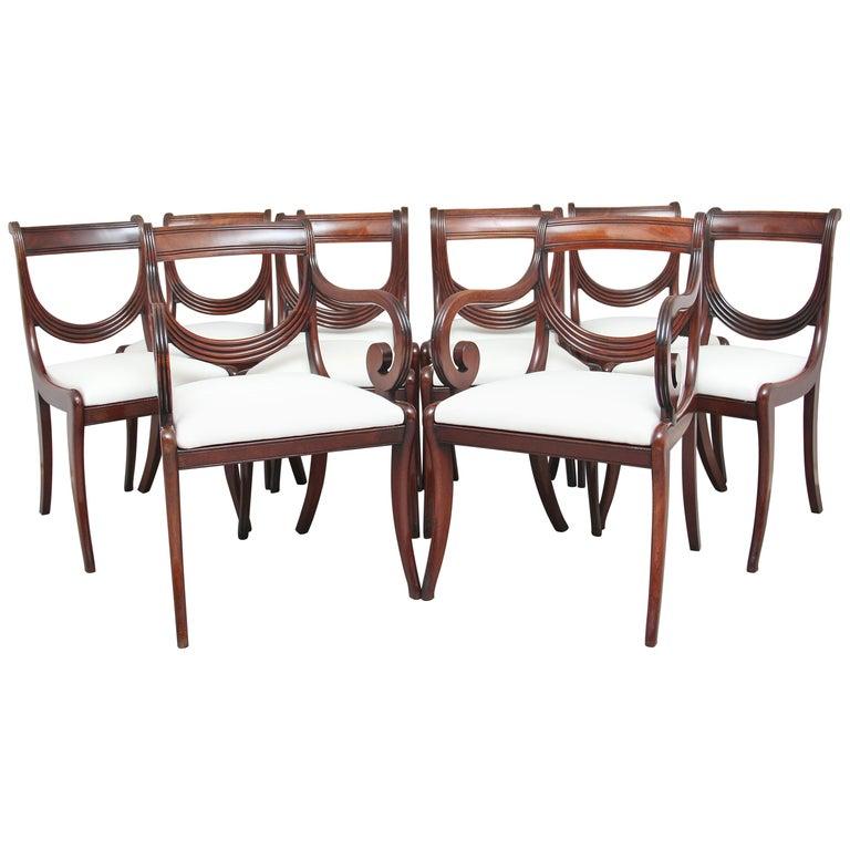Rare Set of Ten Early 19th Century Mahogany Dining Chairs