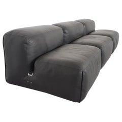 Mario Bellini Le Mura Black Leather Sectional Sofa for Cassina, 1970s