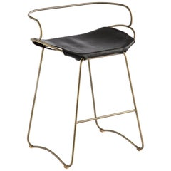 Arm Counterstool Aged Brass Steel Black Vegetable Tanned European Saddle Leather