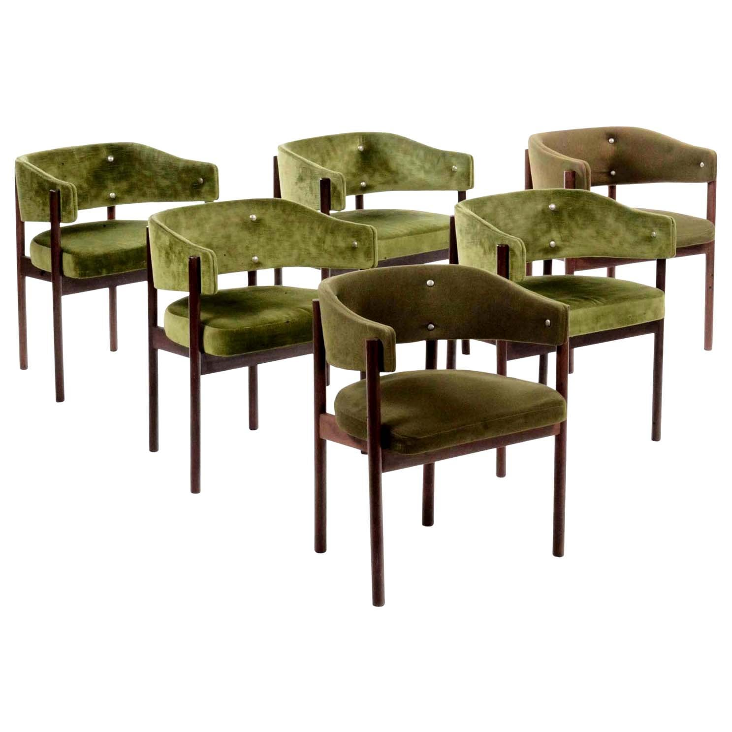 1950s by Italian Midcentury Design Chairs Set of 6