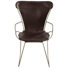 Armchair Aged Brass Steel and Vegetable Tanned Dark Brown Saddle Leather