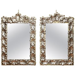 Large Pair of Mid-Century Modern Silvered Rectangular Mirrors, Mexico circa 1950